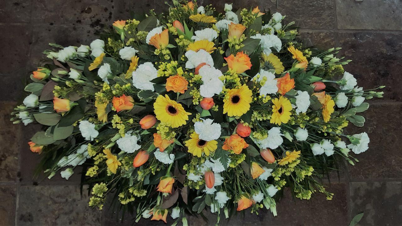 Gold White Funeral Spray Dooleys Flowers